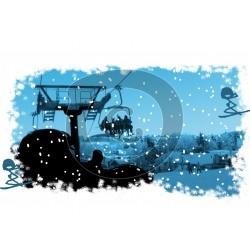 Einladungskarte Skifahren