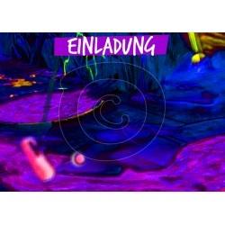 Einladungskarte Neon Minigolf (ab 4 Stck.)